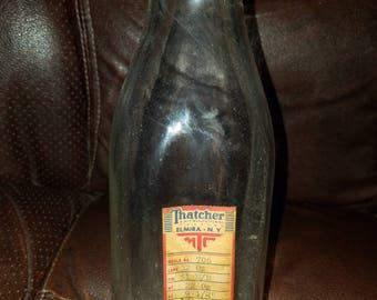 Vintage Thatcher Glass Manufacturine Company Elmira NY Dairy Milk Bottle