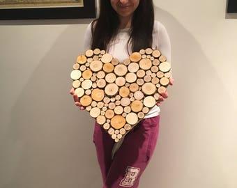 Wood slice wall art, abstract heart, tree slice rustic, handmade