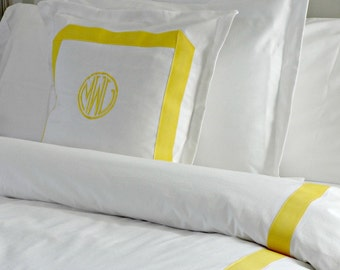 Monogrammed Euro Sham with Ribbon/ Bed Pillow/ Pillowcase /Custom Linen Pillow Sham