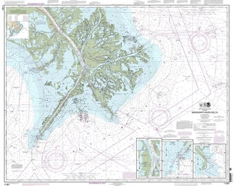 Mississippi River Delta Venice Bay Coquette Boothville 2013 Nautical Old Map Reprint - Louisiana - 80000 AC Chart 1272