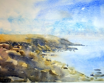 Côte Sauvage Quiberon Bretagne original watercolor home decor France french art french painting french decor sea art Brittany watercolor