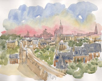 View of Dinan Bretagne original watercolor painting landscape painting original Brittany wall art french art french watercolor french art
