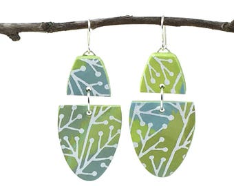 Polymer Clay Jewelry, Lightweight Earrings, Summer, Green and Blue