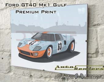 Ford GT40 Mk1 Gulf Race Car Personalised Premium Signed Prints 12x8(A4) to 45x30(A0) Classic Cars Custom Illustration Le Mans Nurburgring