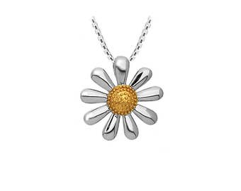 Silver Daisy Necklace, Baby Daisy Pendant (13mm) with 18ct Gold Plated Centre