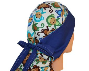 Surgical Scrub Hat Medical Cap Nurse Vet Dr Front Fold Ponytail Scrub Hat Monkeys Green Blue Brown 2nd Item Ships FREE