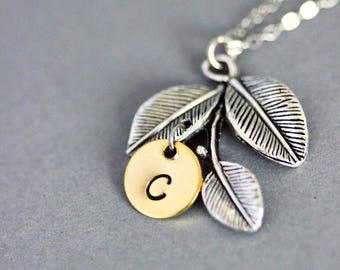 Initial Leaf Necklace Hand Stamped Necklace Initial Leaf Pendant One Initial Jewelry Personalized Necklace Personalized Jewelry Leaf Jewelry