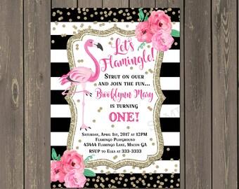 Flamingo 1st Birthday Invitation, Black & White Stripe Floral with Gold 1st Birthday Party Invitation, Photo Invitation, DIY or Printed