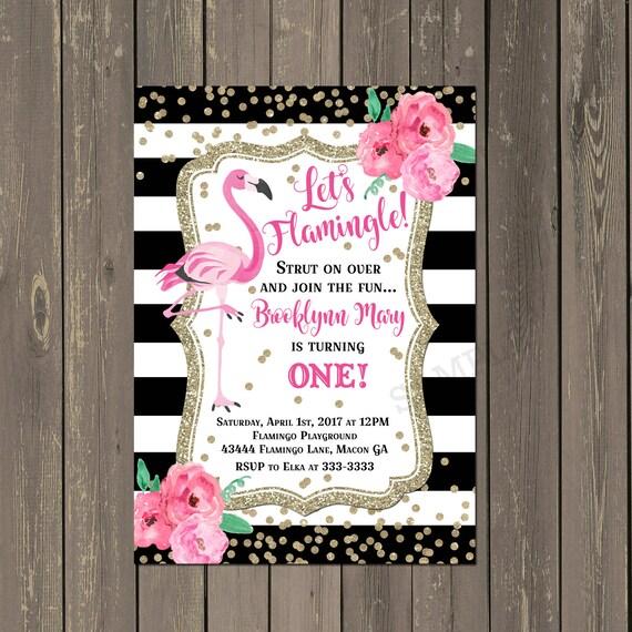 Flamingo St Birthday Invitation Black White Stripe Floral With - Black and white striped birthday invitations