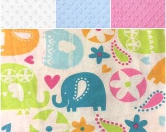 flannel elephant, elephant, toddler blankets, car seat blankets, stroller blankets, crib blanket