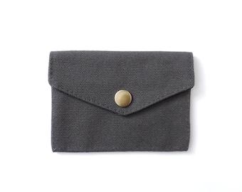 Minimalist Canvas Wallet Slim Snap Wallet Gray