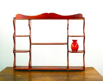 Vintage Spoon Shelf, Plate Display Shelf, Knick Knack Shelf, Wooden Shelf, Hardwood Wood Shelf, Curio Display, Teacup Display. Plate Shelf