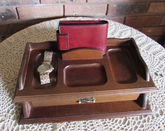 Men's Wood Dresser Top Valet Jewelry Box.