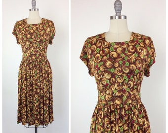 40s Brown Swirl Rayon Dress / 1940s Vintage Day Dress / Small / Size 4