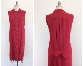 40s Red Cotton Day Dress / 1940s Vintage Feedsack Dress / Large / Size 12
