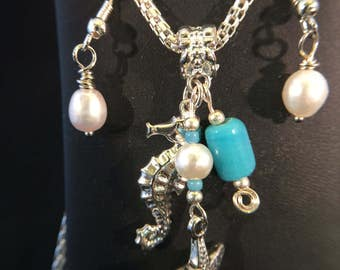 Necklace and Earring Set - Seahorse and Starfish Cluster Pendant Necklace and Freshwater Pearl Dangle Earring Set - FREE SHIPPING