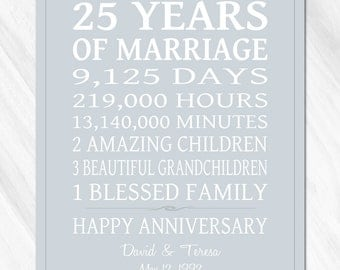 SILVER 25th Anniversary Gift for Parents Personalized Print / CANVAS Anniversary Life Story Stats Marriage Subway Sign OOAK Custom Colors
