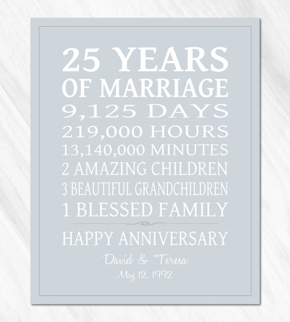 Silver Wedding Anniversary Gift Ideas For Parents: SILVER 25th Anniversary Gift For Parents Personalized Print