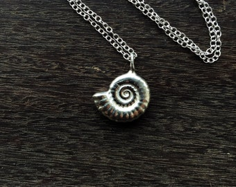 Sterling silver ammonite necklace, sterling silver nautilus fossil necklace