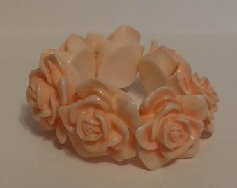 Vintage Lucite Rose Bracelet Pink