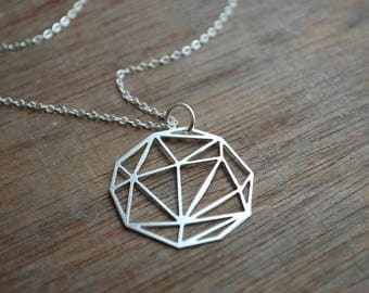 Geometric . Long minimalistic silver plated  necklace . Origami