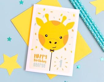 1st Birthday Card // Personalised Birthday card // Boy's Birthday Card // Girl's Birthday Card // Children's Birthday Card // Giraffe