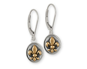 Fleur De Lis Earrings Jewelry Sterling Silver And Yellow Bronze Handmade Flower Earrings FD17-BZKW