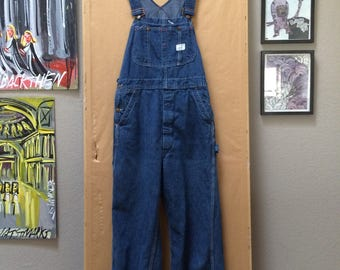 Vintage Big Mac Square Bak Overalls JC Penney Union Made 1970's Made in USA Size 32 x 34