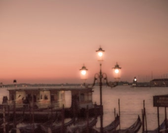 Venice, Italy, Morning Sunrise in Venice, Pink Sky and Pink Lanterns,  Gondolas,Travel Photography