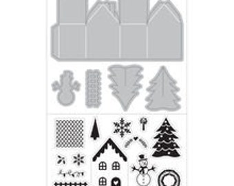 3D HOUSE Tree  Snowman Fence Christmas Stamp and Cut Die Set by Art-C die 28459 R7 1.cc22