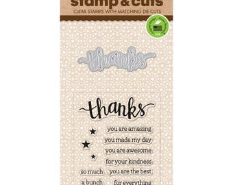 "Hero Arts Stamp & Cut THANKS clear 3""x4"" Stamp with metal Die set - DC152 1.cc02"
