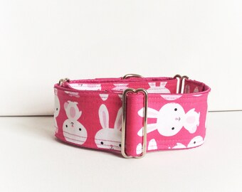 Bunny martingale collar (dog collar, greyhound martingale, pink cute bunnies colorful fun Easter spring coton satin)