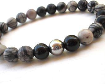 Spider web Jasper, Black Tourmaline and Hematite bracelet, Jasper bracelet, Men bracelet, Mala bracelet, Stackable bracelet, Gift for Him