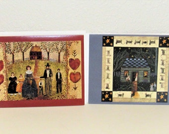 Folk Art Greeting Cards, 1995, by Carol Endres, Blank Inside