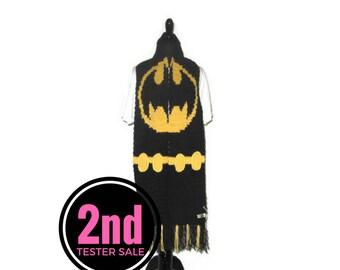 Batman inspired scarf, 2nd sale, tester sale, Bat symbol inspired scarf, DC inspired scarf, fringed scarf, black scarf, crochet scarf