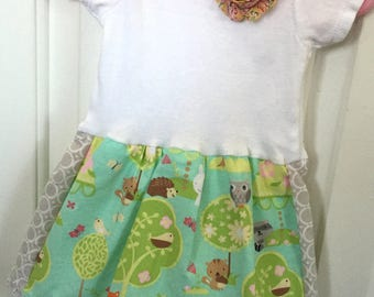 12 mo, Forrest Animals at Play, Onsie Dress, One Piece Onsie, Baby Dress
