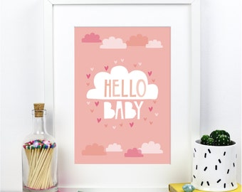 SALE Hello Baby Girl - Pink Cloud A4 print