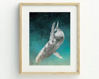 Whale Art Print, A4, Whale Art, Constellation Print, Whale Illustration, Whale Print, Original Artwork, Constellation Print, Bohemian