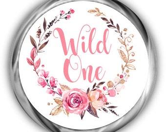 Boho Birthday Hershey Kisses Stickers - Girl First Birthday Sticker - Wild One