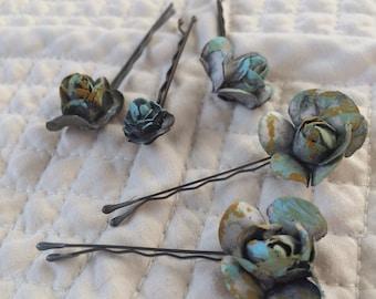 Rustic Rose Hair Pins (set of 5)