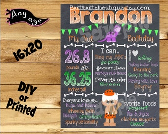 First Birthday Chalkboard 1st birthday stone age family boy chalk board photo prop customized first birthday poster digital file or printed