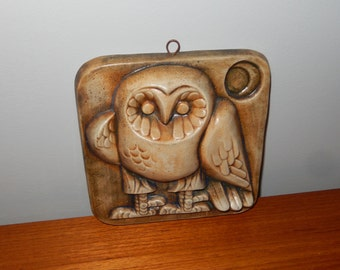 Vintage Square Ceramic Owl Wall Hanging