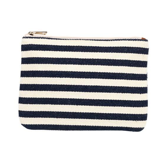 Chandler stripe zip pouch monogram cosmetic bag luggage bag monogram bag zip pouch nautical bag makeup bag