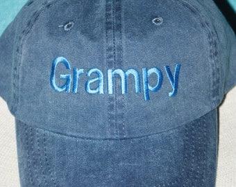 Grampy Custom Baseball Cap - Custom Grampy baseball hat - Embroidered custom hat - Fadded Basebase Ball Cap