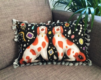 Staffordshire Dogs & Jewels Cushion