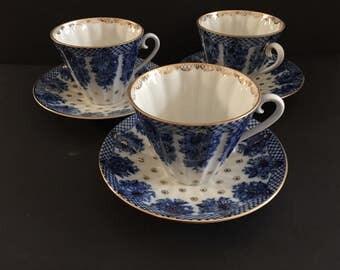3 Russian Teacup Set Cobalt Blue & Gold LOMONOSOV - Marked