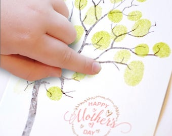Mother's day card, DIY craft, Craft for kids, children's DIY pack , gift for mum, fingerprint tree for mother's day, stamping craft kit