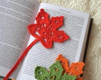 Crochet bookmark Leaf crocheted bookmarks Handmade crochet bookmark Book accessories Gift ideas for book lovers teacher gift student gift