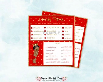 Red Gold Baby Shower Celebrity Moms Name Game | African American Baby Boy |  Digital Instant