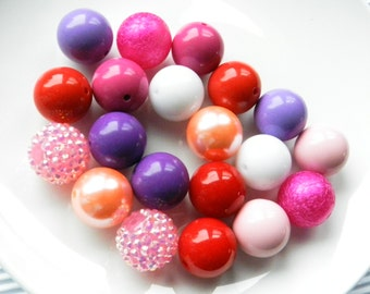 DIY Beads 20 Bubblegum Beads Red, Pink, Purple, Round 20mm Beads, Bubblegum Bead Jewelry Making Bead Lot